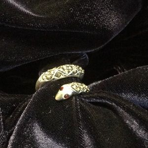 Jewelry - Silver tone snake ring with ruby colored eyes sz 7